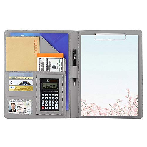 A4バインダー 多機能フォルダー クリップボード A4ファイル 12桁電卓付き A4書類契約フォルダー ビジネスオフィス用品 高級PU材質 ペンホルダー付き オフィス用品 (シルバー)