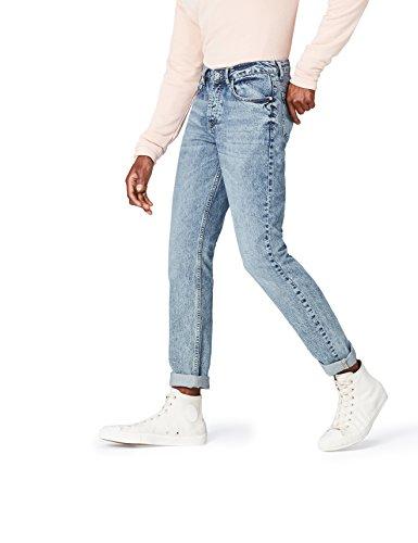 find. Straight Cut Jeans Herren mit geradem Bein, heller Acid-Washing und mittelhohem Bund, Blau, W32/L32 (Herstellergröße: 32)