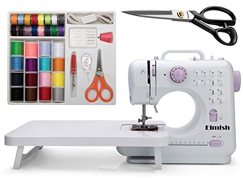 Elmish Sewing Machine (12 Stitches, 2 Speeds, Foot Pedal, LED Sewing Light) - Electric Overlock Sewing Machines - Small Household Sewing Handheld Tool EM-007-K