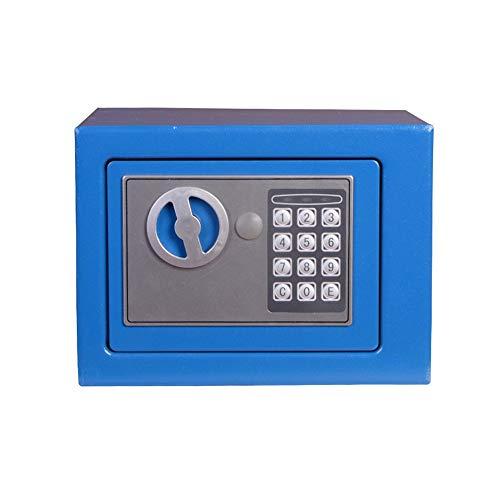 Brandvrije kluis Digital kleine kluis Steel Electronic Safe Met Slot toetsenbord For Money Jewelry Veiligheid Cabinet Veilig thuis (Color : Marine blue, Size : 22x17x17cm)