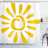ABAKUHAUS Sonne Duschvorhang, Doodle Sun Burst Sommer, mit 12 Ringe Set Wasserdicht Stielvoll Modern Farbfest & Schimmel Resistent, 175x200 cm, Gelb Weiß