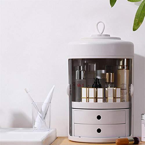 ZEHNHASE Make Up Organizer, Kosmetik Aufbewahrungsbox mit Doppeltür und 360-Grad-Drehung, staubdichte Kosmetiktasche mit 2 Schubladen und Tragegriff