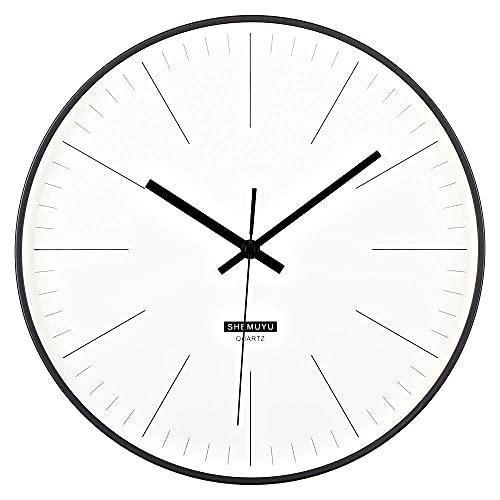 qwertyuio Relojes de Pared 12'Reloj de Pared metálico Moderno Que no Hace tictac - Movimiento de Cuarzo de número silencioso - para Sala de Estar, Dormitorio, Oficina, Decorativo, Escala