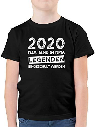 Einschulung und Schulanfang - 2020 Das Jahr in dem Legenden eingeschult Werden - 128 (7/8 Jahre) - Schwarz - schultuete Junge - F130K - Kinder Tshirts und T-Shirt für Jungen