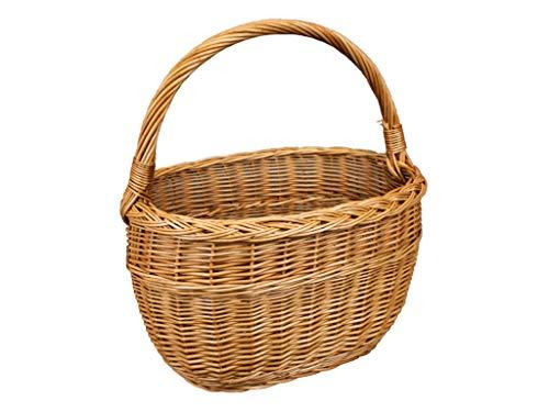 Cesta de mimbre, cesta de la compra, cesta de frutas o verduras, cesta para setas, cesta de picnic 26 x 40 / H 23/42 cm
