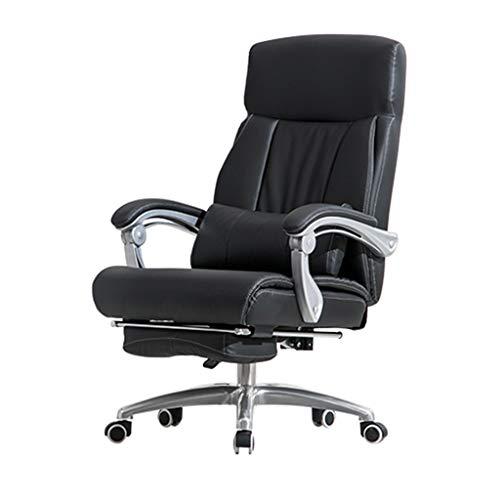 ZHJHQ-Chairs Stuhl- BüRostuhl Chefsessel Rotationslift Liegender 170 ° Pu-Chefsessel Aus Leder Bequemer GrüNer Ledersessel Schwarz +