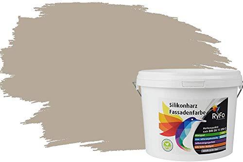RyFo Colors Silikonharz Fassadenfarbe Lotuseffekt Trend Kieselgrau 3l - bunte Fassadenfarbe, weitere Grau Farbtöne und Größen erhältlich, Deckkraft Klasse 1