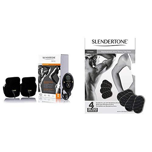 Slendertone Brazaletes de bíceps y tríceps H F Tonificación Unisex-Adulto, Negro, 25 a 45 cm + X4 Electrodos de Repuesto para los Brazos, Hombre, Negro Dorado