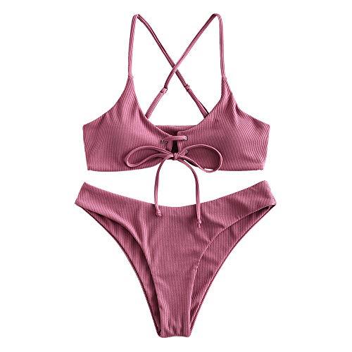 ZAFUL Damen Push Up Spaghetti-Träger Bikini Set Swimsuit Rosa S