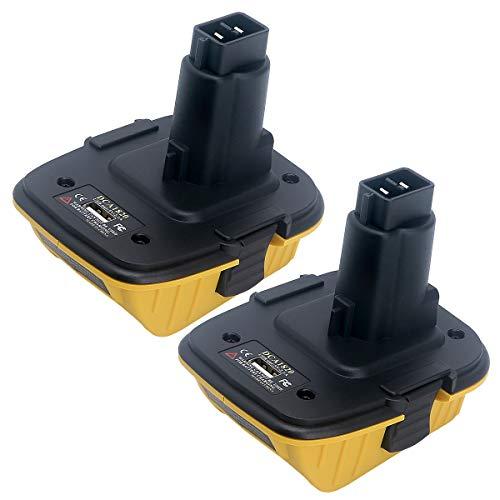 Biswaye 2-Pack Replacement for 20V Dewalt Battery Adapter DCA1820 to Dewalt 18V Tools, Convert Dewalt 20V Battery DCB205 DCB201 DCB609 for Dewalt 18V Battery DC9096 DC9098 DW9096 DW9099 with USB Port