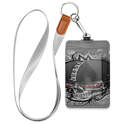 Clip ID Karteninhaber Cartoon Motorrad Helm Kartenhalter ID Abzeichen Mit 1 durchsichtigen Ausweisfenster, 2 Kartenschlitzen und einem abnehmbaren Halsriemen für Büroausweis, Schulausweis, Führersche