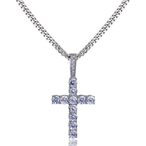 TOPGRILLZ 14K Gold&Silver Plated Solid Iced Out CZ Lab Cubic Zirconia Cross Pendant Neckace for Men Women Stainless Chain