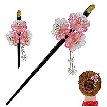 FINGER LOVE Geisha Hair Stick with Pink Acrylic Cherry Blossom Cluster and Tassel  Pink