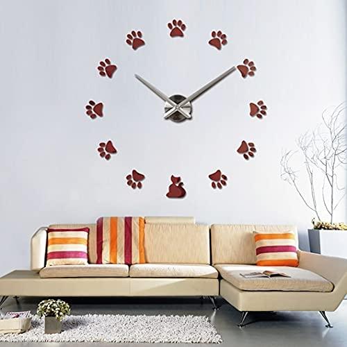 Uiewle Moda Paw DIY Reloj de Pared 3D Diseño Acrílico Espejo Reloj Pegatinas Europeas Reloj de Pared Decorativo Grande 37 Pulgadas