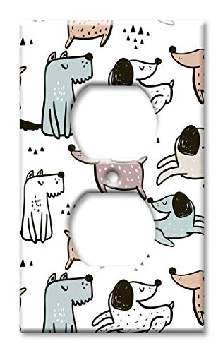 Art Plates Duplex Outlet Cover Wall Plate - Blue, Orange and Pink Dog Toss