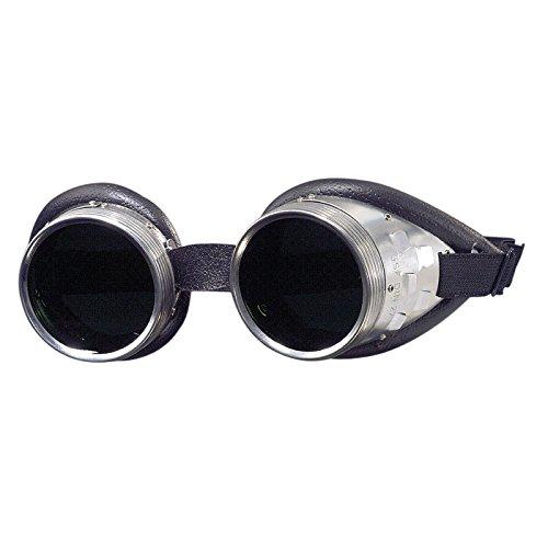 Schraubringbrille mit Lederwulstpolster 50mm Glasdurchmesser, Gläser klar oder grün getönt in DIN 4-6, Schweißerbrille, Schweißbrille, Schweißschutzbrille, Schutzstufe:DIN 5