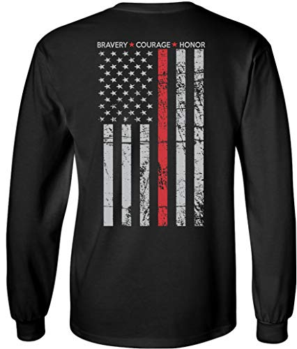 Thin Red Line Hero Long Sleeve T-Shirt (X-Large, Black)