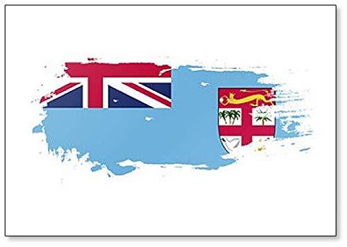 Kühlschrankmagnet, Motiv Fidschi-Flagge, Grunge Brush
