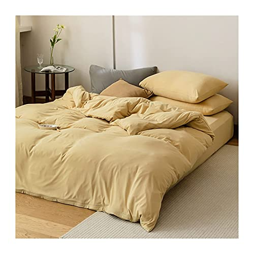 Edredón / edredón de Punto de Clase A 100% algodón con sábana Ajustable Juego de 4 Piezas Juego de sábanas de Cama de Color sólido / Completo (Color: Amarillo B, Tamaño: 200x230-180x200cm)
