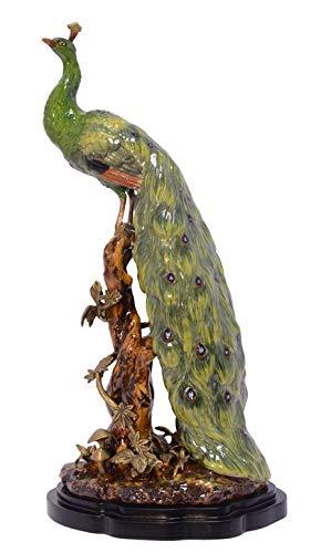 Casa Padrino Barock Pfau Skulptur Messing/Porzellan 23.3 x 18.5 x H 47.4 cm - Rokoko Antik Stil...