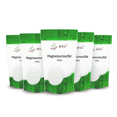 Magnesiumsulfat 5 x 1000g - Bittersalz - Epsom Salz 5 x 1kg - Konzentrierte Magnesium quelle - 100% Natürliches Salz - Bad und Körperpflege - Badezusatz ideal Magnesiumbäder
