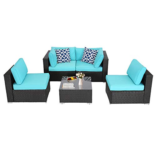 BPTD 5 Pieces All Weather Patio Furniture Sets Outdoor Sectional Conversation Set PE Rattan Sofa Couch Sets with Coffee Table for Patio Garden Lawn (Turquoise)