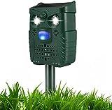 Ahuyentador de gatos solar por ultrasonidos, impermeable, repelente de animales, ultrasónico, luz intermitente, sonido, solar y USB, 4 modos ajustables para gatos, pájaros, plagas (verde)