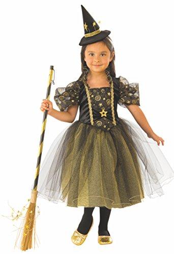 Halloween - Disfraz de Bruja para niña, verde con estrellas - 5-7 años (Rubie