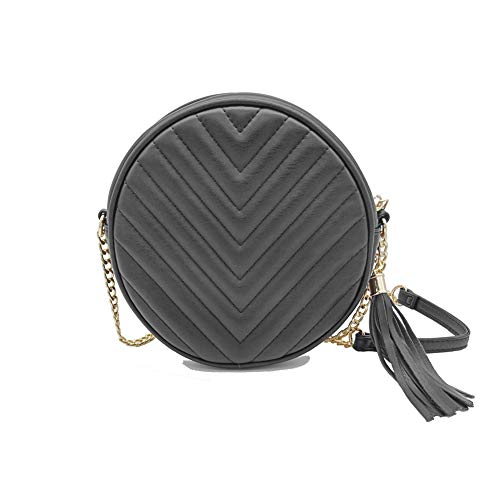 ❤Quilted design round purse with gold chain ❤ Material: Made of high quality PU leather chain and zipper. ❤ Plenty of room: 7.1''(L) x 7.1''(W) x 2.2''(H), It could carry your daily stuffs, like big phone, keys, charger,mirror,makeup and so on. ❤ Lon...