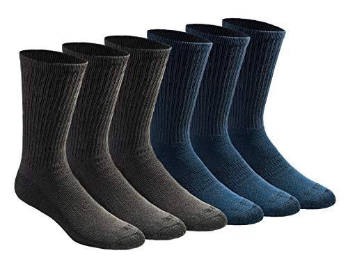 Dickies Men's Dri-tech Moisture Control Crew Socks Multipack, Mixed Denim (6 Pairs), Shoe Size: 6-12