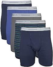 Gildan Men's Regular Leg Boxer Briefs, Multipack, Mixed Navy (5-Pack), Large