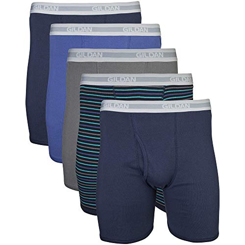Gildan Men's Regular Leg Boxer Briefs, Multipack, Mixed Navy (5-Pack), Small