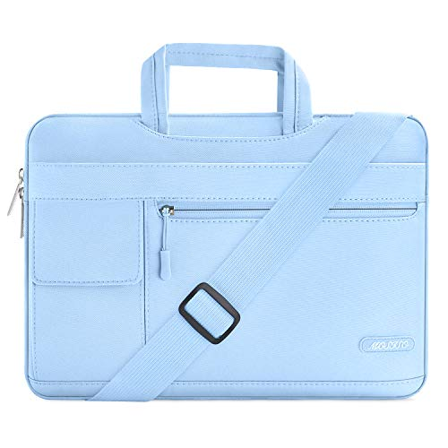 MOSISO Laptop Briefcase Shoulder Bag Compatible with 2019 MacBook Pro 16 inch Touch Bar A2141, 15-15.6 inch MacBook Pro Retina, Notebook, Messenger Polyester Flapover Sleeve Case, Airy Blue