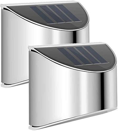 Solarlampen für Außen, 2 Stück LED Solar Wandleuchten Edelstah Ausenbeleuchtung Wandleuchte Solar Stainless Steel Sicherheitswandleuchte Wasserdichte Solarleuchte Garten für Pfad Zaun Wand Garage