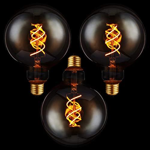 proventa 3x Edison Globe Filament-Birne, dimmbar, E27, 5 Watt, Doppelwendel, 1.800 K, Bernstein, Form G125, LED-Leuchtmittel, Dekolampe, Vintage, Retro