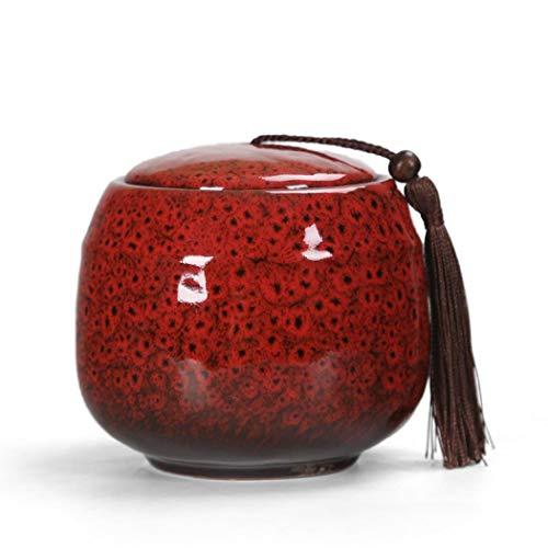 Teedose aus Keramik, Vintage-Stil, chinesischer Stil, Vorratsgläser, Teedosen, Dosen, Dosen, traditionelle Teedose, versiegelter Deckel, für Zuhause, Küche, Esszimmer, Dekoration (rot)