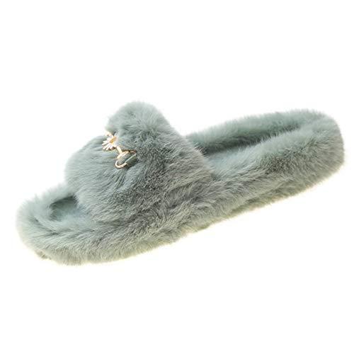 Aupast Zapatillas de Estar por Casa para Mujer Zapatillas de Felpa Open Toe Chanclas Mullidas Elegantes Suave Cómoda Sandalia para Interiores y Exteriores