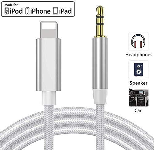 Cable Auxiliar para iPhone 11 Cable Auxiliar para Auto a Jack Adaptador de 3.5mm para iPhone 7Plus/8/X/XS/XR/11 a Radio de Coche/Adaptador de Altavoz/Auriculares Compatible con Todos los iOS-Blanco