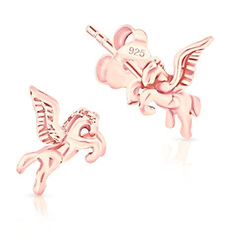 DTPsilver® Petits Clous/Puces d'Oreilles en Argent Fin 925 Plaqué Or Rose - Cheval Pégase/Pegasus/Cheval Ailé - Dimension: 7 x 8 mm