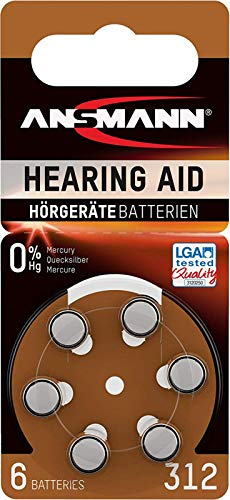 30 ANSMANN Hörgerätebatterien 312 braun Zink Luft Hörgeräte Batterien Typ 312 P312 ZL3 PR41 1,45V Knopfzelle mit besonders langer Laufzeit für Hörgerät Hörverstärker Hörhilfe 0% HG LGA Tested Quality