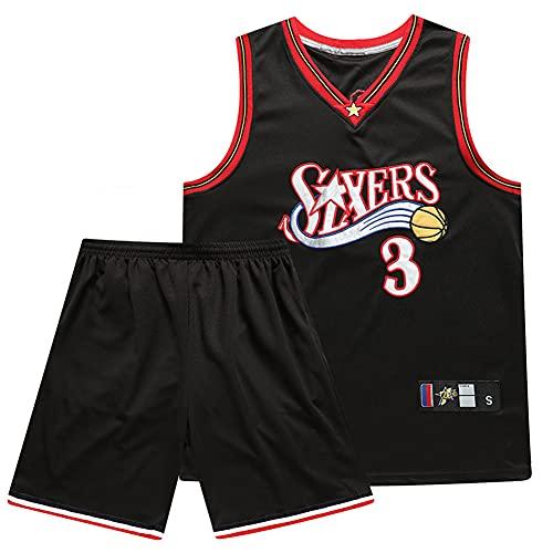 ZRHZB Maglia da Basket NBA Allen Iverson #3 E Set di Pantaloncini Sportivi, Che Commemora La Classica Maglia Nera Traspirante ad Asciugatura Rapida retrò,2XL