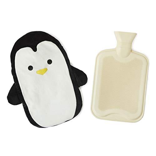 Balvi Bolsa Agua Caliente Pingu Color Negro Botella de Agua Caliente con Cubierta Suave en Forma de pingüino 1.6L Caucho/poliéster
