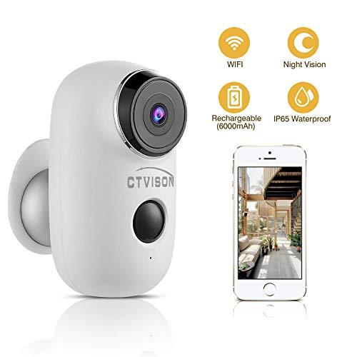 CTVISON Cámara de vigilancia para Interiores y Exteriores, inalámbrica Recargable de 6000 mAh, WiFi, cámara de vigilancia doméstica con Audio de 2 vías, visión Nocturna, PIR y Ranura SD