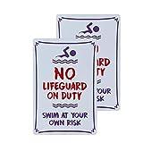 dojune - 2 Stück Schwimmbad-Schild, Warnschild mit Aufschrift 'Warning No Lifeguard On Duty', Warnschild für den Pool