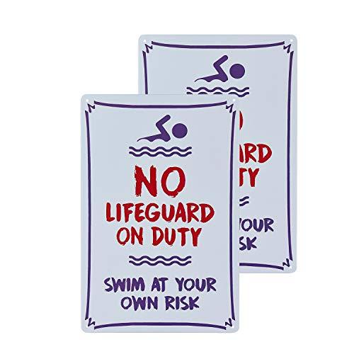 """dojune - 2 Stück Schwimmbad-Schild, Warnschild mit Aufschrift """"Warning No Lifeguard On Duty"""", Warnschild für den Pool"""