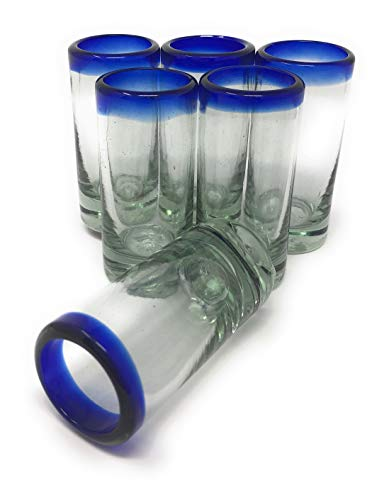 Hand Blown Mexican Tequila Shot Glasses – Set of 6 Cobalt Blue Rim Tequila Shot Glasses (2 oz each)