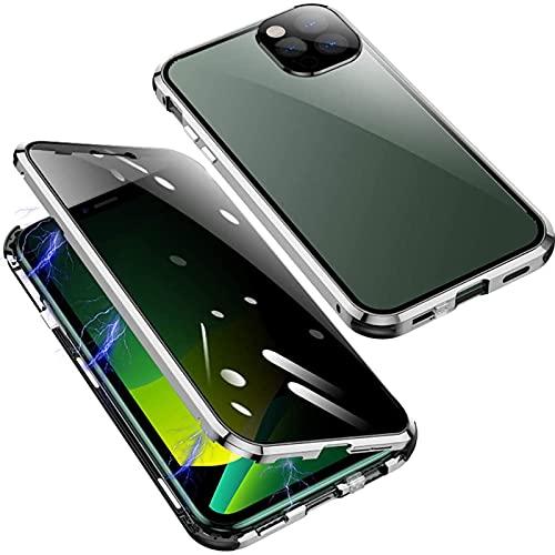 HHZY Funda para iPhone 13 Pro MAX Magnética Carcasa,Funda Adsorción Magnética Protector de Lente de Cámara Privacy Vidrio Templado Ultra-Delgado Anti Separado Cover,Plata,For 13