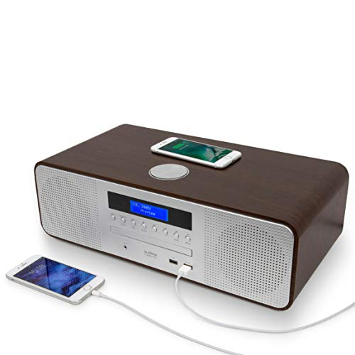 AUDIBLE FIDELITY Complete Hi-Fi DAB DAB+ Stereo System CD Player With Speakers, Wireless Charging & USB Charging, Bluetooth, MP3 Playback, FM & Digital Radio with Remote Control