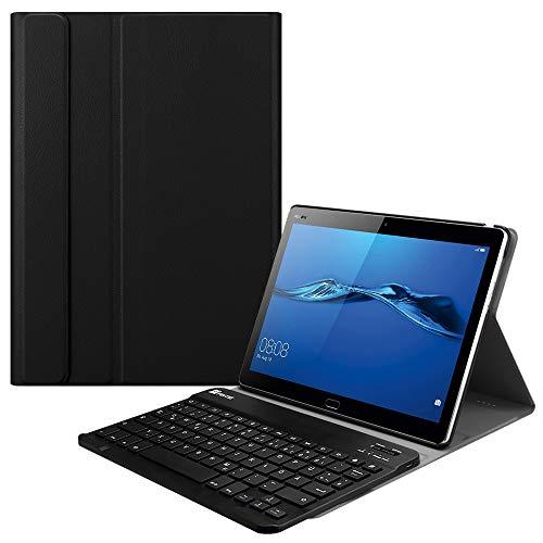 Fintie Tastatur Hülle für Huawei MediaPad M3 Lite 10 - Superdünn leicht Schutzhülle mit Magnetisch Abnehmbarer Drahtloser QWERTZ Bluetooth Tastatur für Huawei M3 Lite 10.1 Zoll, Schwarz