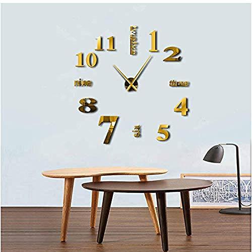 BBNNN Reloj de Pared Moderno Big Mute DIY Home Office 3D Espejo Superficie Pegatinas de Pared Reloj de Pulsera Gigante sin Marco 47 Pulgadas Hecho a Mano